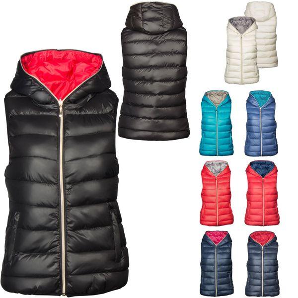 Damen Winter Steppweste Daunen Look Kapuze Doppelseitig Kontrastfarben – Bild 1