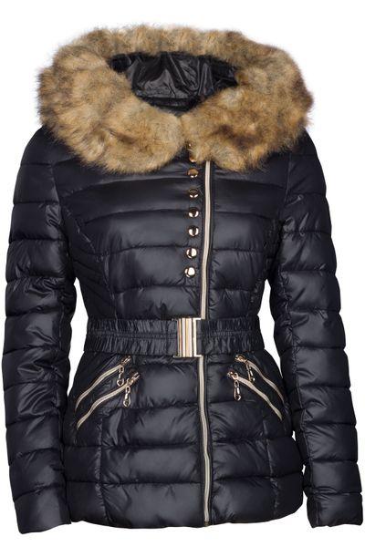 Damen Winter Jacke Daunen Optik Gefüttert Mit Kapuze – Bild 2