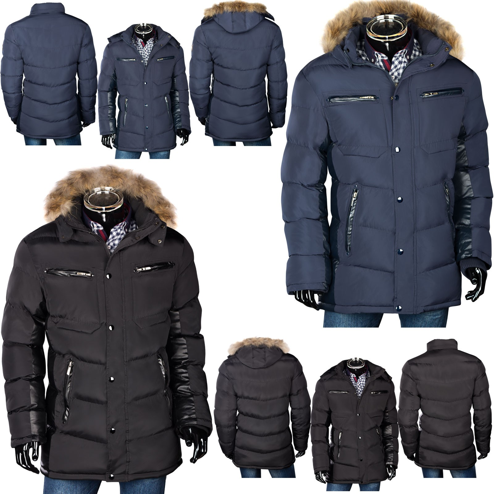 herren wintermantel winterjacke parka mit fellkapuze. Black Bedroom Furniture Sets. Home Design Ideas