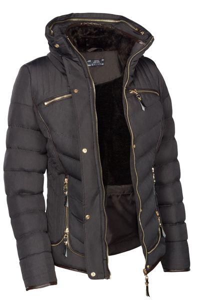 Damen Winterjacke Steppjacke Gefüttert Mit Kapuze Daunenoptik in den Größen S M L XL XXL – Bild 5