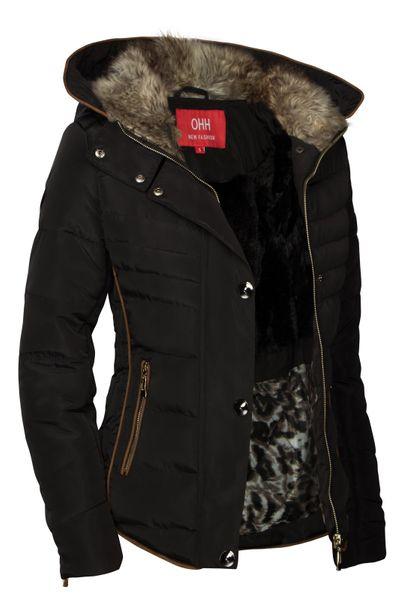 Damen Winterjacke Gefüttert Daunenoptick Steppjacke Mit Kapuze – Bild 19