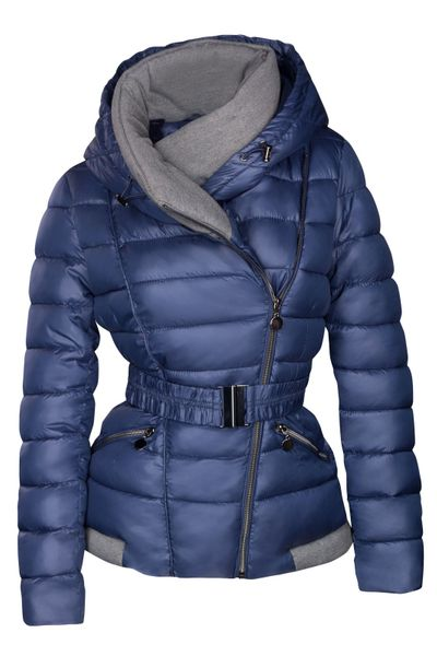 Damen Steppjacke mit Kapuze inkl. Taillengurt – Daunen-Look – gefütterte Winter-Ski-Jacke – Bild 12