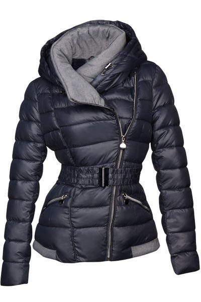 Damen Steppjacke mit Kapuze inkl. Taillengurt – Daunen-Look – gefütterte Winter-Ski-Jacke – Bild 2