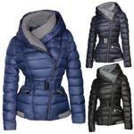 Damen Steppjacke mit Kapuze inkl. Taillengurt – Daunen-Look – gefütterte Winter-Ski-Jacke