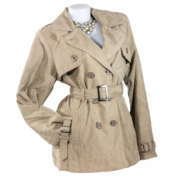 Damen Jacke Wintermantel Trenchcoat Wildlederimitat SALE – Bild 5