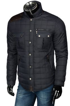 Herren Slim Fit Steppjacke mit Leder-Optik-Applikationen – Bild 3