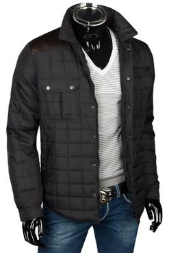 Herren Slim Fit Steppjacke mit Leder-Optik-Applikationen – Bild 9