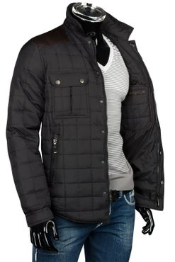 Herren Slim Fit Steppjacke mit Leder-Optik-Applikationen – Bild 10