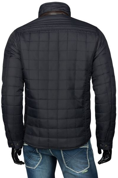Herren Slim Fit Steppjacke mit Lederimitat Applikationen – Bild 6