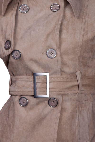 Luxus Damen Jacke Trenchcoat Übergangsjacke Wildlederimitat  – Bild 7