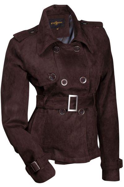 Luxus Damen Jacke Trenchcoat Übergangsjacke Wildlederimitat  – Bild 10