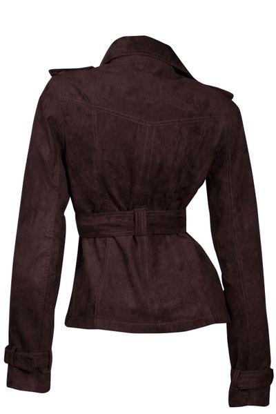 Luxus Damen Jacke Trenchcoat Übergangsjacke Wildlederimitat  – Bild 13
