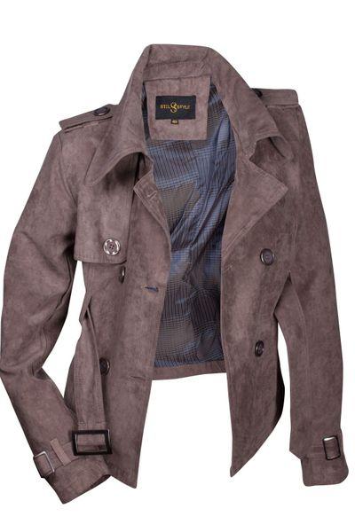 Luxus Damen Jacke Trenchcoat Übergangsjacke Wildlederimitat  – Bild 16