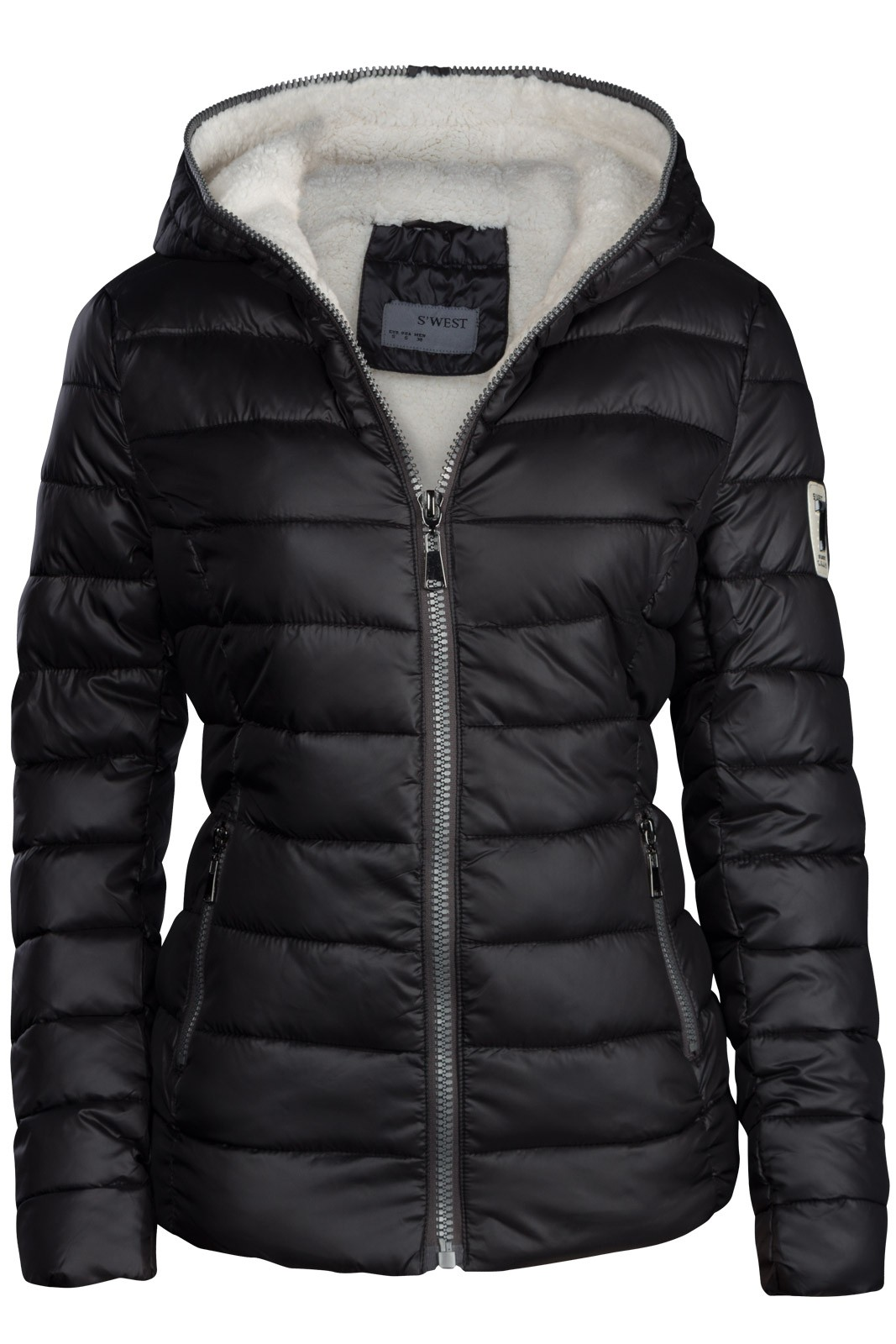 best website aff4d ed853 Damen Winterjacke Gefütterte Steppjacke Daunen Optik mit Kapuze
