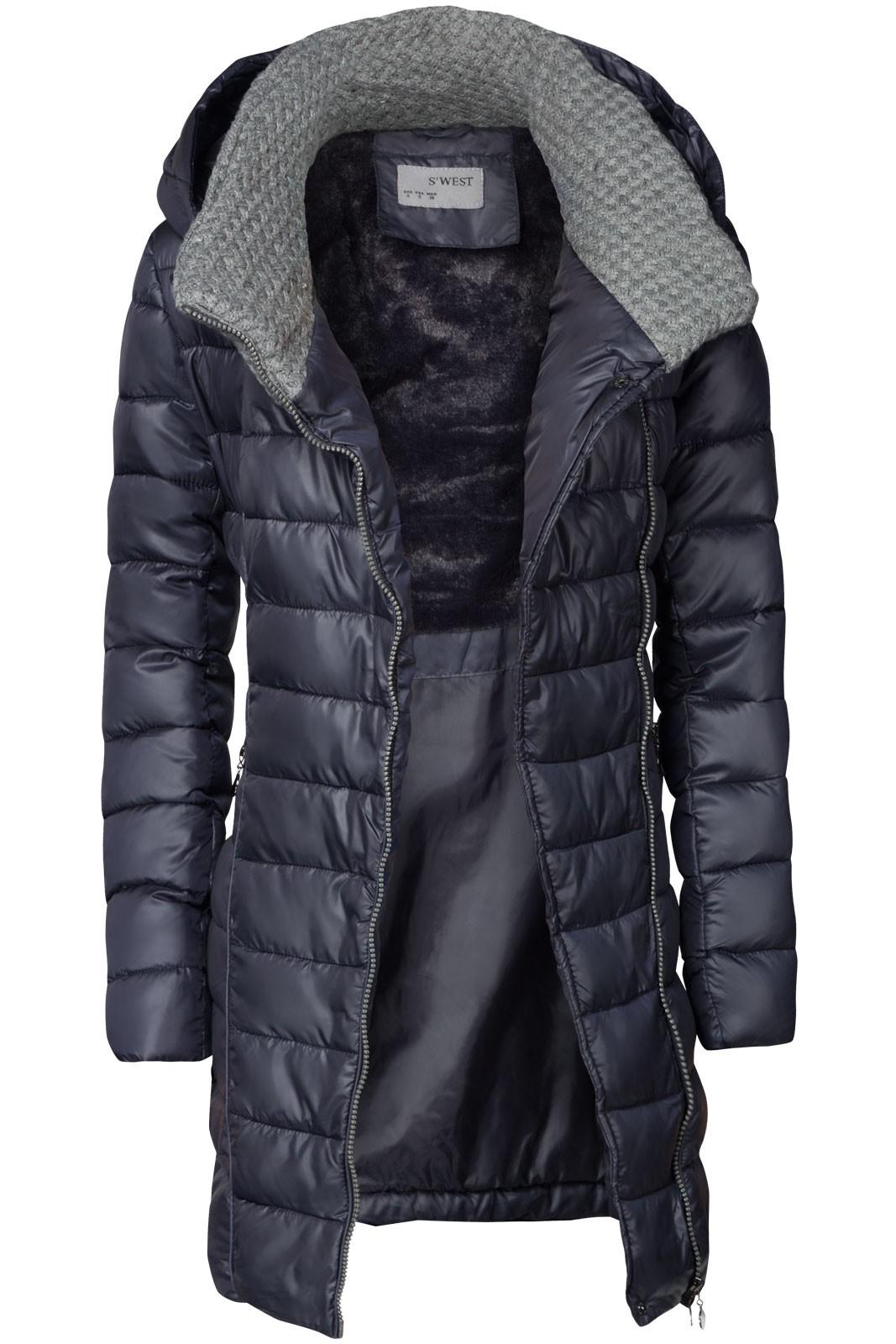 Damen Winter Mantel übergangsmantel Lang Daunen Optik Mit Kapuze