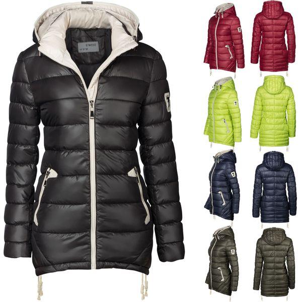 Damen Stepp Winter Mantel Übergangsmantel Lang Jacke Parka