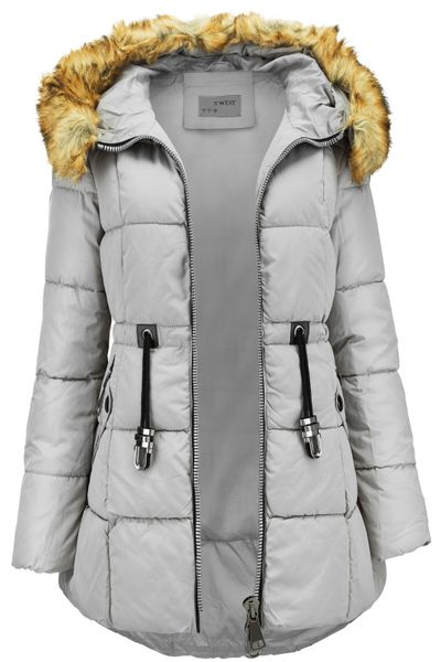 Damen Winter Stepp Mantel Lang Pelz Kragen – Bild 10