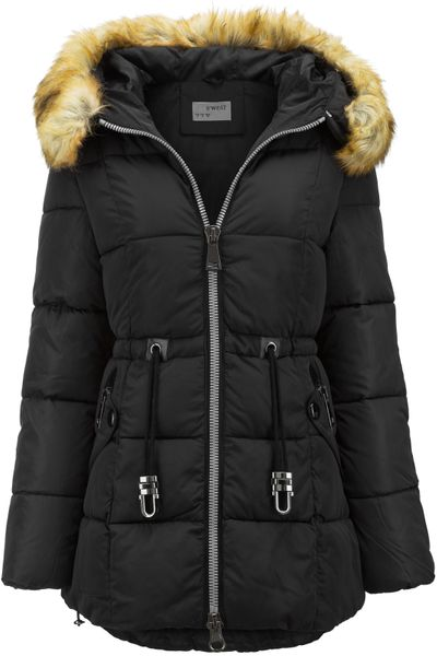 Damen Winter Stepp Mantel Lang Pelz Kragen – Bild 17