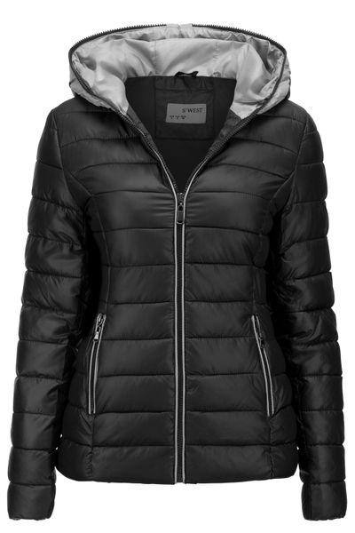 Neu Damen Winter Jacke Übergangsjacke Skijacke Stepp mit Kapuze – Bild 17