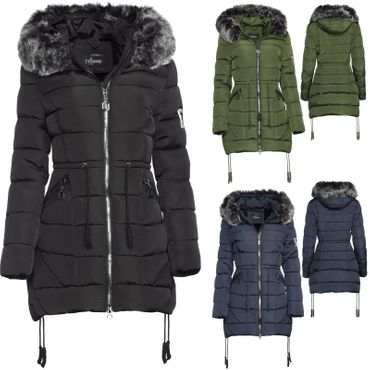 Trisens Damen Winter Parka Lang Fell Kapuze