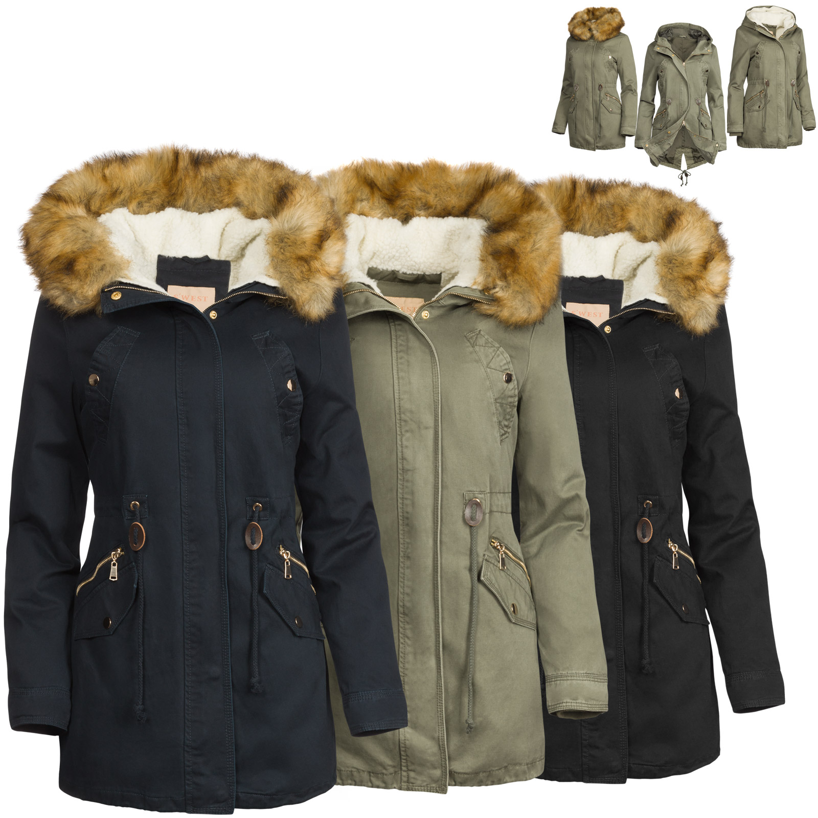 02d712f32b9b 3 in 1 Damen Winter Jacke 100% Baumwolle Military Style Damen Mode ...
