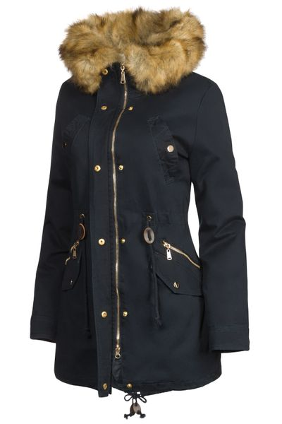 3 in 1 Damen Winter Jacke 100% Baumwolle Military Style – Bild 4