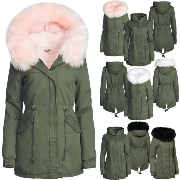 Damen Winter Jacke 3in1  100% Baumwolle Pelz Kapuze