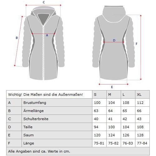 Damen Winter Jacke 3in1  100% Baumwolle Pelz Kapuze – Bild 19
