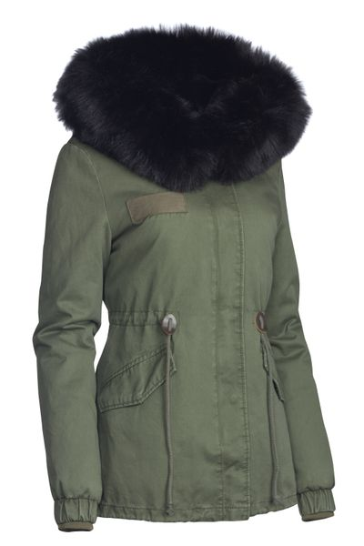 Damen Winter Cotton Jacke Pelz Kapuze – Bild 9