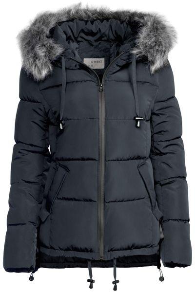 Damen Winter Kurz Jacke Pelz Kragen – Bild 2