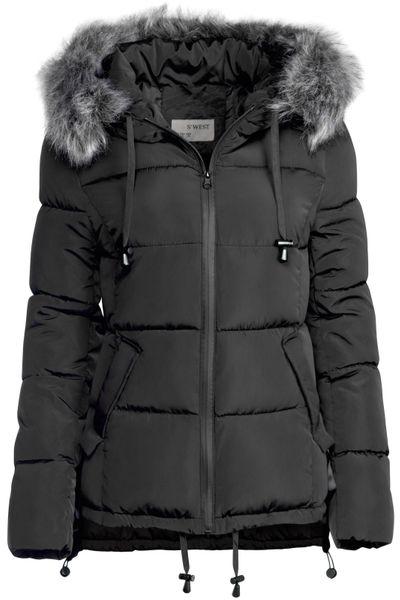 Damen Winter Kurz Jacke Pelz Kragen – Bild 22