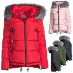 Damen Winter Kurz Jacke Pelz Kragen