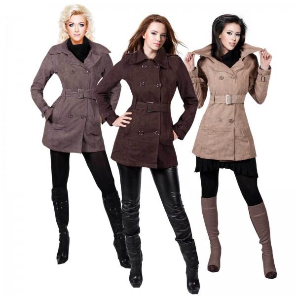 Trendige Damen Jacke Übergangsjacke Wildlederimitat Trenchcoat Mantel SALE – Bild 1