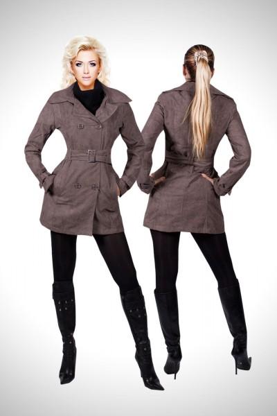 Trendige Damen Jacke Übergangsjacke Wildlederimitat Trenchcoat Mantel SALE – Bild 2
