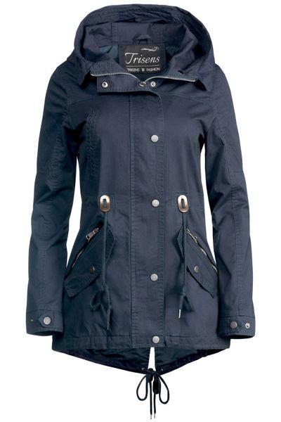 Trisens Damen Jacke Übergangsjacke Trenchcoat mit Kapuze Baumwolle Cotton – Bild 2