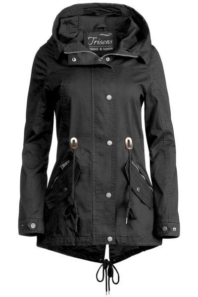 Trisens Damen Jacke Übergangsjacke Trenchcoat mit Kapuze Baumwolle Cotton – Bild 12