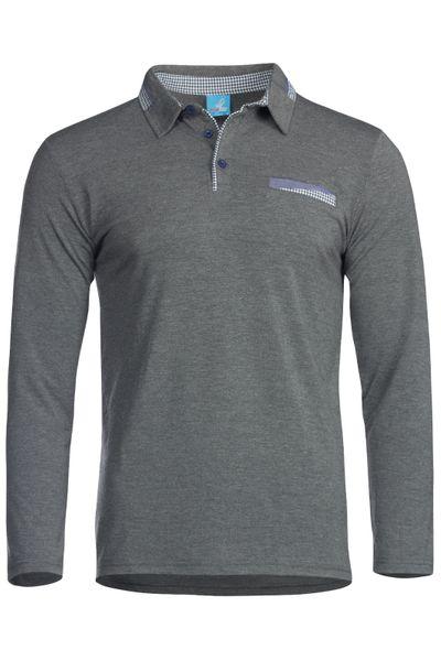 Herren Langarm Shirt aus Baumwolle Polokragen Polohemd  – Bild 6