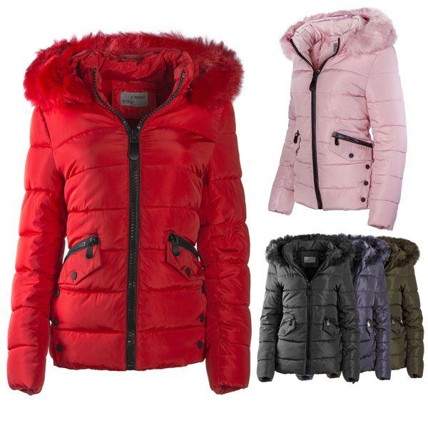 Gsteppte Damen Winter Warme Jacke mit abnehmbarem Kunstfell gefüttert