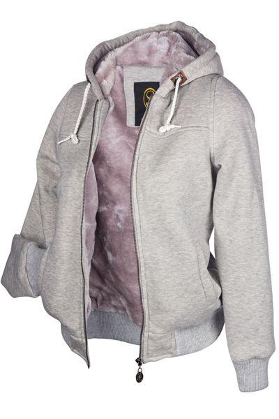 Winter Hoodie Kapuzenpullover Webpelz Gefüttert Damen Jacke Sweatjacke Zip Hoody – Bild 15