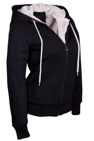 Winter Hoodie Kapuzenpullover Webpelz Gefüttert Damen Jacke Sweatjacke Zip Hoody – Bild 10
