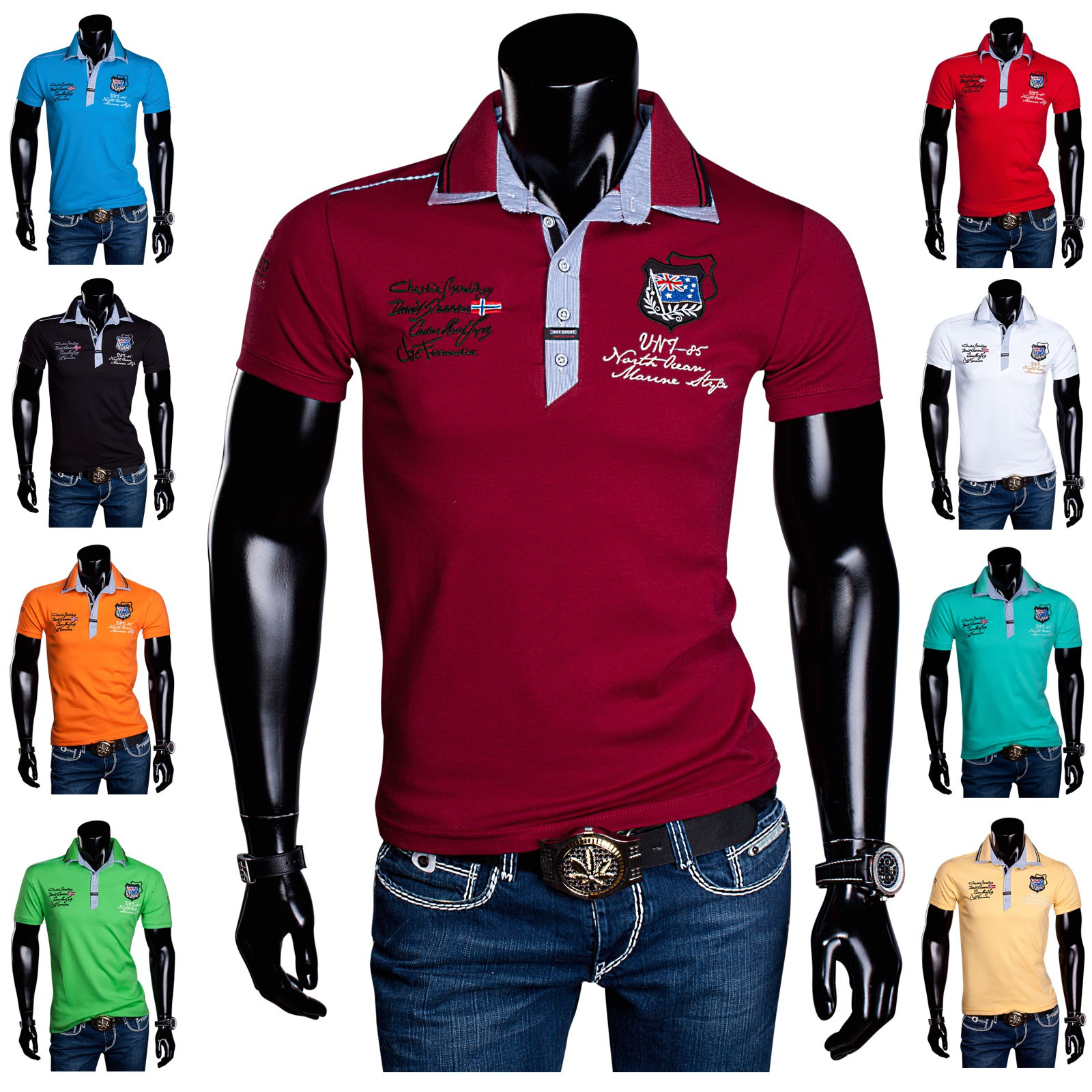 big sale 49ae0 ac6df Herren T-Shirt Poloshirt Party Doppelkragen Violento Polo Sommer