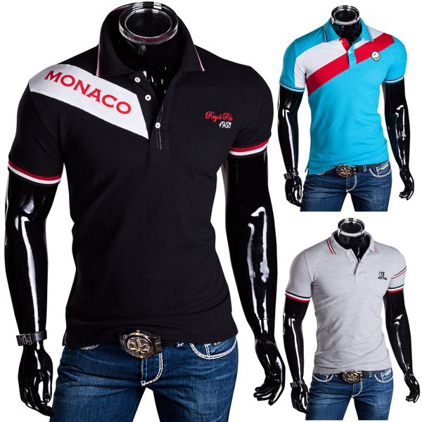 Herren Poloshirt T-Shirt Monaco Party Sommer Hemd Slim Fit