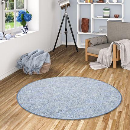 Schlingen Teppich Memory Blau Meliert Rund