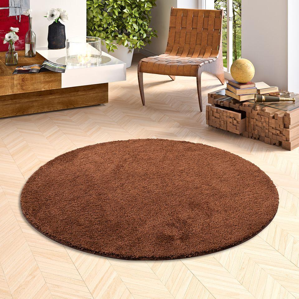 hochflor shaggy teppich palace braun rund teppiche. Black Bedroom Furniture Sets. Home Design Ideas