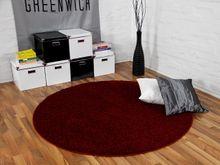 Teppich Hochflor Shaggy Premio Weinrot Rund online kaufen