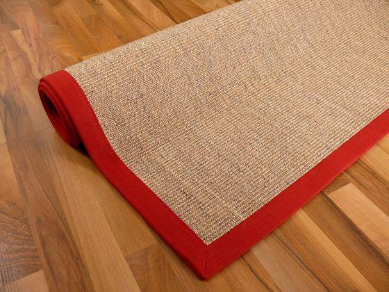 Sisal Astra Natur Teppich Nuss Bordüre Rot online kaufen