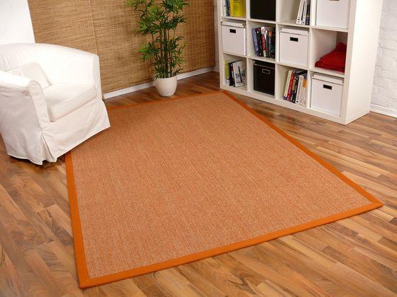 Sisal Astra Natur Teppich Orange Bordüre Orange