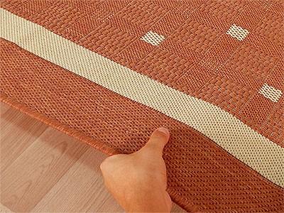 Modern Flachgewebe Ruggy Terrakotta Bordüre online kaufen