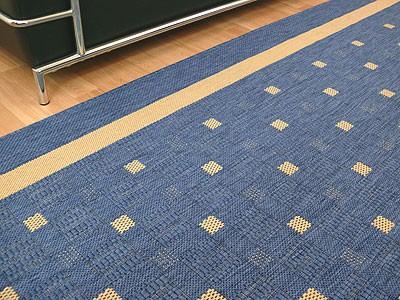 Modern Flachgewebe Ruggy Blau Bordüre in 4 Größen online kaufen