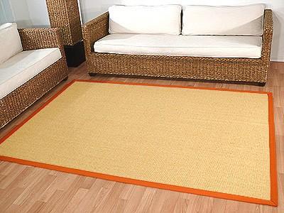Sisal Astra Natur Teppich Honig Bordüre Orange